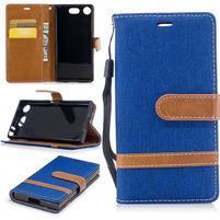 Jean textilné/PU kožené puzdro na mobil Sony Xperia XZ1 Compact - modré