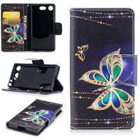 Printy PU kožené zapínacie puzdro na Sony Xperia XZ1 Compact - zlatý motýľ