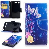 Printy PU kožené zapínacie puzdro na Sony Xperia XZ1 Compact - ruže a motýli