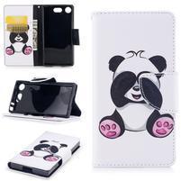 Printy PU kožené zapínacie puzdro na Sony Xperia XZ1 Compact - panda