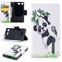Printy PU kožené zapínacie puzdro na Sony Xperia XZ1 Compact - panda na bambuse