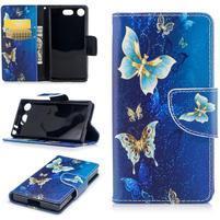 Printy PU kožené zapínacie puzdro na Sony Xperia XZ1 Compact - kúzelné motýle
