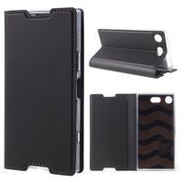 DUX Luxury PU kožené klopové puzdro na Sony Xperia XZ1 Compact - antracitové