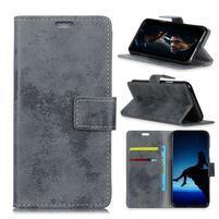 Vintage PU kožené peňaženkové puzdro na mobil Sony Xperia XZ2 Premium - sivé