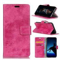 Vintage PU kožené peňaženkové puzdro na mobil Sony Xperia XZ2 Premium - rose