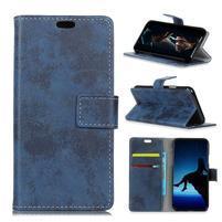 Vintage PU kožené peňaženkové puzdro na mobil Sony Xperia XZ2 Premium - modré