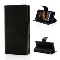 Peňaženkové PU kožené puzdro na Sony Xperia Z - čierne