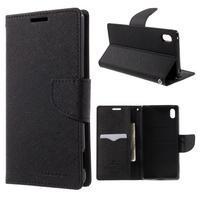 Diary PU kožené puzdro na Sony Xperia Z3+ - čierne