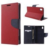 Diary PU kožené puzdro na Sony Xperia Z3+ - červené