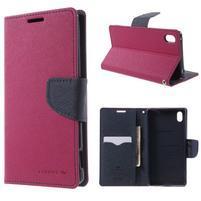 Diary PU kožené puzdro na Sony Xperia Z3+ - rose