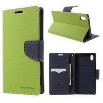 Diary PU kožené puzdro na Sony Xperia Z3+ - zelené