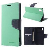 Diary PU kožené puzdro na Sony Xperia Z3+ - cyan