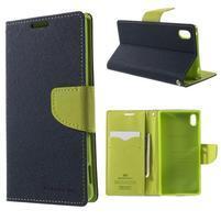 Diary PU kožené puzdro na Sony Xperia Z3+ - tmavomodré
