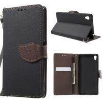 Leaf PU kožené zapínacie puzdro na Sony Xperia Z3+ - čierne