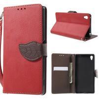 Leaf PU kožené zapínacie puzdro na Sony Xperia Z3+ - červené