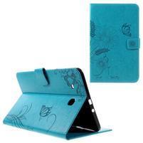 Butterfly PU kožené puzdro pre Samsung Galaxy Tab E 9.6 - svetlomodré