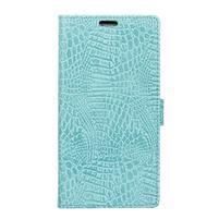 StyleCroco PU kožené puzdro na mobil Vodafone Smart E8 - cyan