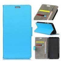 Wall PU kožené peňaženkové puzdro na Vodafone Smart N9 Lite - modré