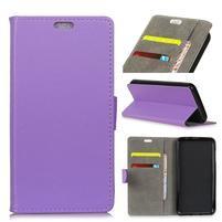 Wall PU kožené peňaženkové puzdro na Vodafone Smart N9 Lite - fialové