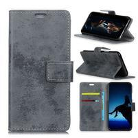Retro PU kožené peňaženkové puzdro na Vodafone Smart N9 Lite - sivé