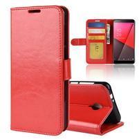 Horse PU kožené peňaženkové puzdro na Vodafone Smart N9 Lite - červené