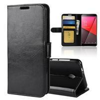 Horse PU kožené peňaženkové puzdro na Vodafone Smart N9 Lite - čierné