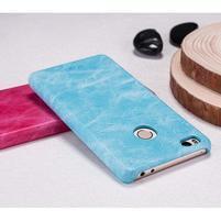 Mofi plastový obal s PU koženým chrbtom pre Xiaomi Mi4S - svetlomodré
