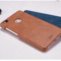 Mofi plastový obal s PU koženým chrbtom pre Xiaomi Mi4S - hnedé
