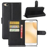 Graines PU kožené puzdro pre mobil Xiaomi Mi 5c - čierné