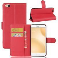 Graines PU kožené puzdro pre mobil Xiaomi Mi 5c - červené