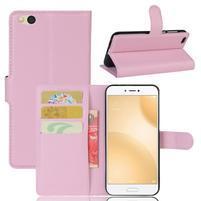 Graines PU kožené puzdro pre mobil Xiaomi Mi 5c - ružové