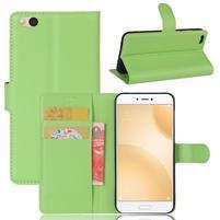 Graines PU kožené puzdro pre mobil Xiaomi Mi 5c - zelené