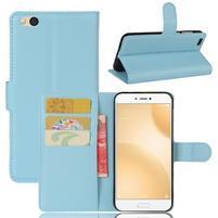 Graines PU kožené puzdro pre mobil Xiaomi Mi 5c - svetlomodré