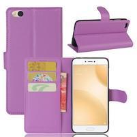Graines PU kožené puzdro pre mobil Xiaomi Mi 5c - fialové