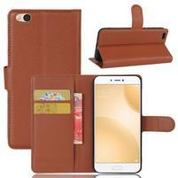 Graines PU kožené puzdro pre mobil Xiaomi Mi 5c - hnedé