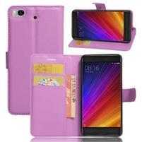 Texture PU kožené puzdro pre mobil Xiaomi Mi5s - fialové