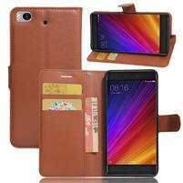 Texture PU kožené puzdro pre mobil Xiaomi Mi5s - hnedé