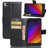Texture PU kožené puzdro pre mobil Xiaomi Mi5s - čierné