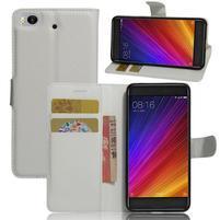 Texture PU kožené puzdro pre mobil Xiaomi Mi5s - biele