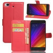 Texture PU kožené puzdro pre mobil Xiaomi Mi5s - červené