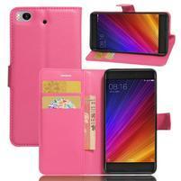 Texture PU kožené puzdro pre mobil Xiaomi Mi5s - rose
