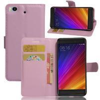 Texture PU kožené puzdro pre mobil Xiaomi Mi5s - ružové