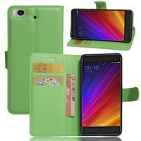 Texture PU kožené puzdro pre mobil Xiaomi Mi5s - zelené