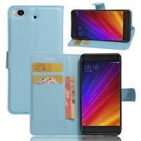 Texture PU kožené puzdro pre mobil Xiaomi Mi5s - svetlomodré