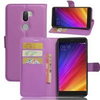 Graines knížkové PU kožené puzdro pre Xiaomi Mi5s Plus - fialové