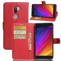 Graines knížkové PU kožené puzdro pre Xiaomi Mi5s Plus - červené