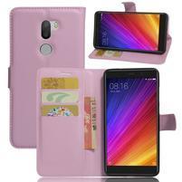 Graines knížkové PU kožené puzdro pre Xiaomi Mi5s Plus - ružové