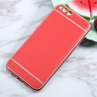 Luxusní gélový obal s PU koženými zády pre Xiaomi Mi 6 - červený