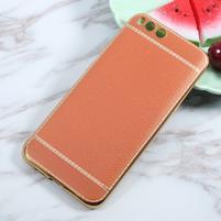 Luxusní gélový obal s PU koženými zády pre Xiaomi Mi 6 - oranžovohnedý
