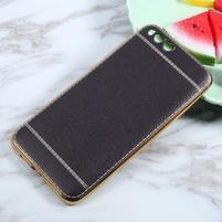 Luxusní gélový obal s PU koženými zády pre Xiaomi Mi 6 - čierný